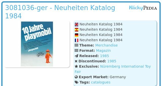 Playmobil 3081036-ger - Neuheiten Katalog 1984