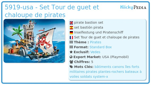 Playmobil 5919-usa - Set Tour de guet et chaloupe de pirates