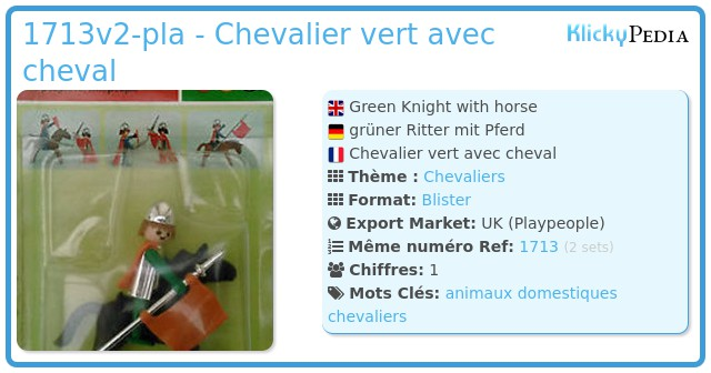 Playmobil 1713v2-pla - Chevalier vert avec cheval