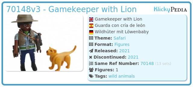 Playmobil 70148v3 - Ranger with babe lion