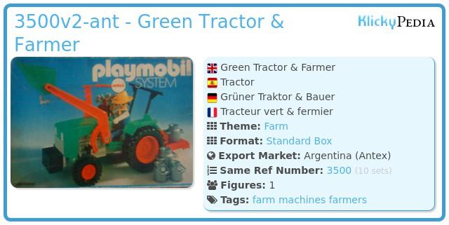 Playmobil 3500v2-ant - Green Tractor & Farmer