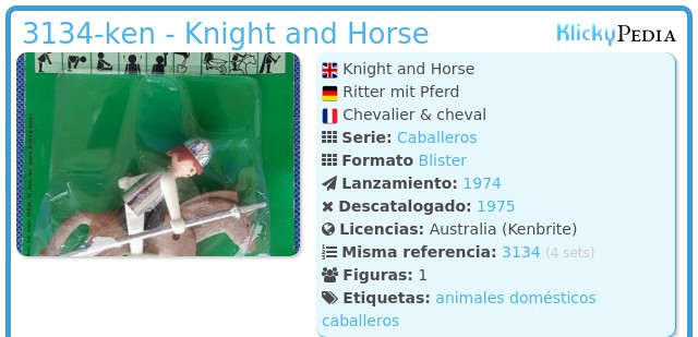 Playmobil 3134-ken - Knight and Horse
