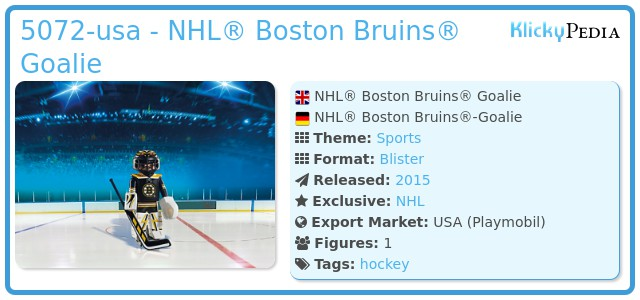 Playmobil 5072-usa - NHL® Boston Bruins® Goalie