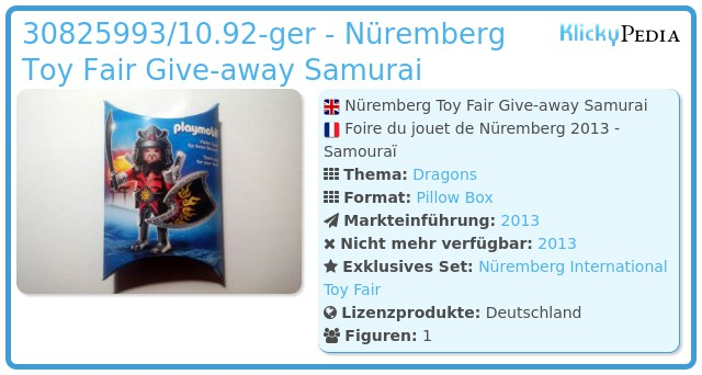 Playmobil 30825993/10.92-ger - Nüremberg Toy Fair Give-away Samurai