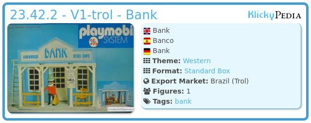Playmobil 23.42.2 - V1-trol - Bank