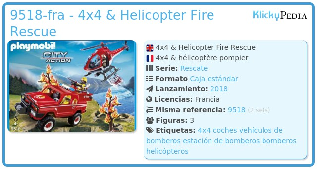 Playmobil 9518-fra - 4x4 & Helicopter Fire Rescue