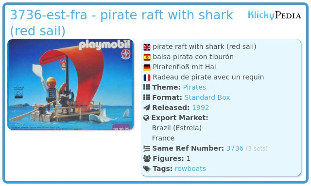 Playmobil 30.10.25-est - pirate raft with shark (red sail)