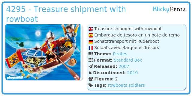 Playmobil 4295 - Treasure shipment with rowboat