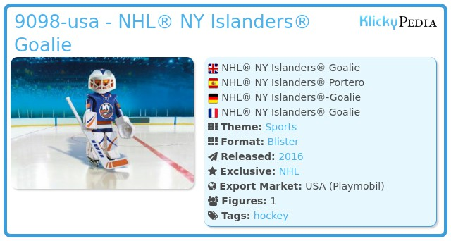 Playmobil 9098-usa - NHL® NY Islanders® Goalie