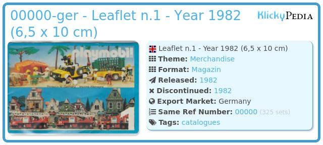 Playmobil 00000-ger - Leaflet n.1 - Year 1982 (6,5 x 10 cm)