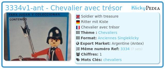Playmobil 3334v1-ant - Chevalier avec trésor