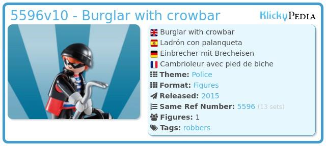 Playmobil 5596v10 - Burglar with crowbar