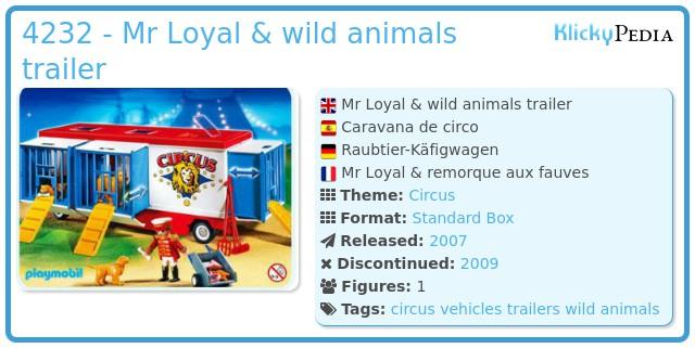 Playmobil 4232 - Mr Loyal & wild animals trailer