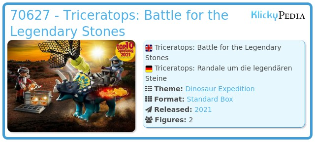 Playmobil 70627 - Dino Rise Triceratops: Battle for the Legendary Stones