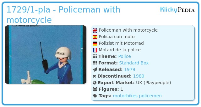Playmobil 1729/1-pla - Policeman with motorcycle