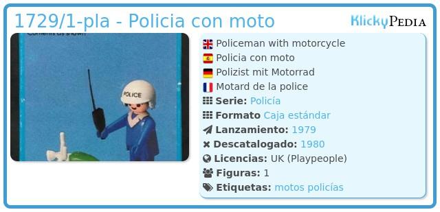 Playmobil 1729/1-pla - Policia con moto
