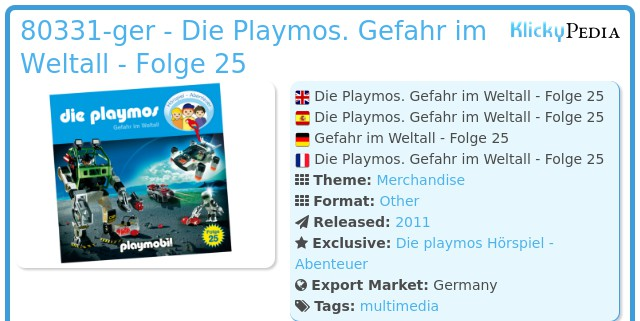 Playmobil 80331-ger - Die Playmos. Gefahr im Weltall - Folge 25
