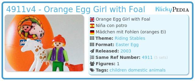 Playmobil 4911v4 - Orange Egg Girl with Horse