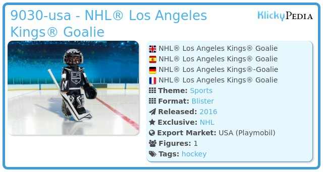 Playmobil 9030-usa - NHL® Los Angeles Kings® Goalie