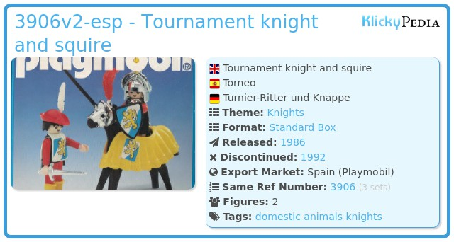 Playmobil 3906v2-esp - Tournament knight and squire