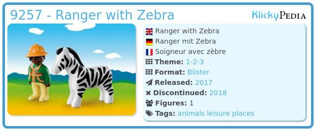 Playmobil 9257 - Ranger with Zebra