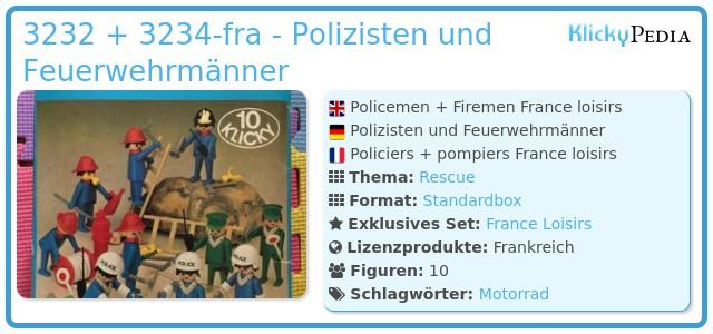 Playmobil 3232 + 3234-fra - Polizisten und Feuerwehrmänner