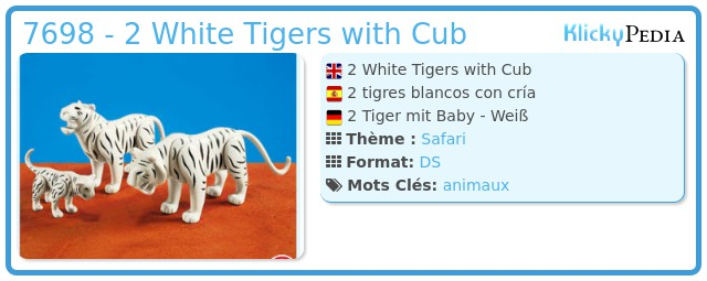 Playmobil 7698 - 2 White Tigers with Cub