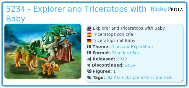 Playmobil 5234 - Explorer and Triceratops with Baby
