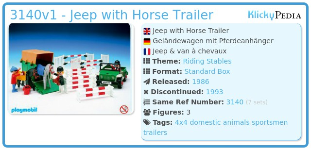 Playmobil 3140v1 - Jeep with Horse Trailer