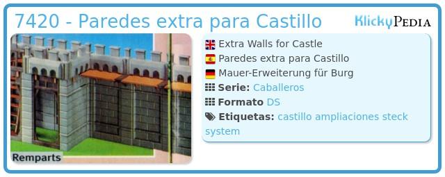 Playmobil 7420 - Paredes extra para Castillo
