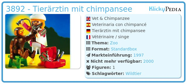 Playmobil 3892 - Tierärztin mit chimpansee