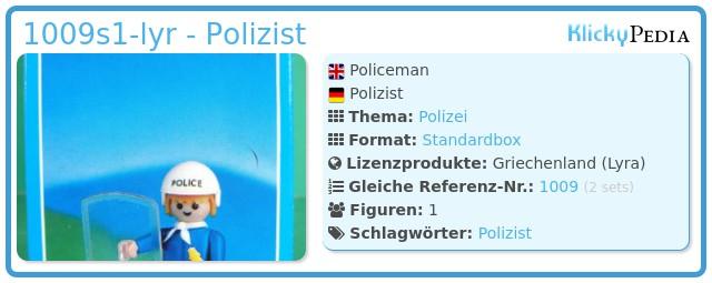 Playmobil 1009-lyr - Polizist