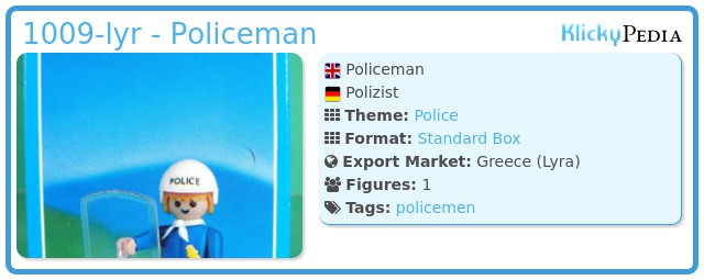 Playmobil 1009-lyr - Policeman