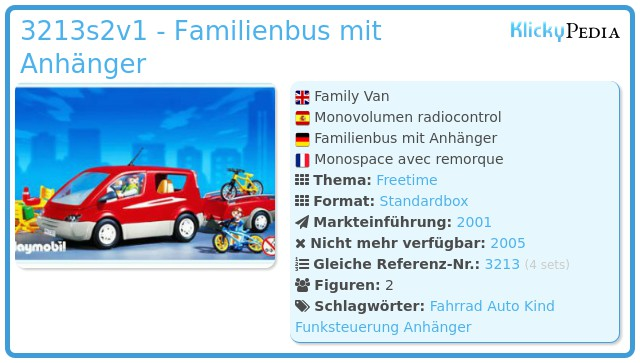 Playmobil 3213s2v1 - Familienbus mit Anhänger