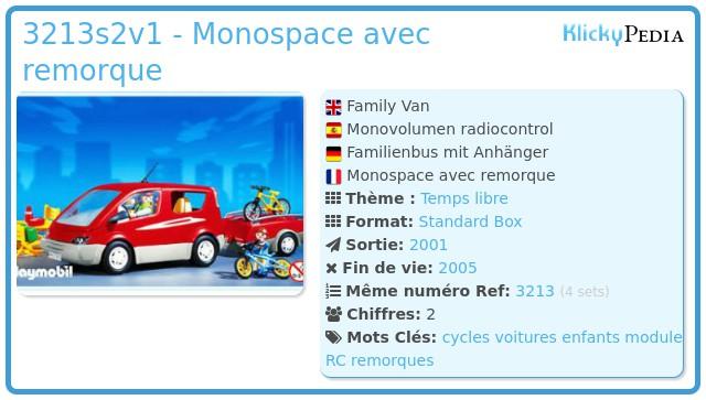 Playmobil 3213s2v1 - Monospace avec remorque