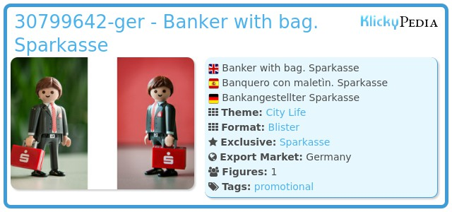 Playmobil 30799642-ger - Banker with bag. Sparkasse