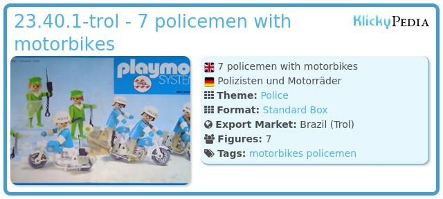 Playmobil 23.40.1-trol - 7 policemen with motorbikes