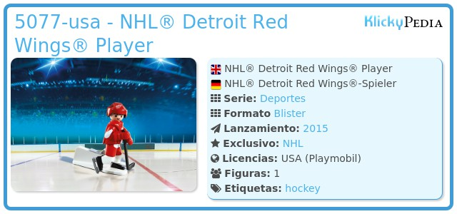Playmobil 5077-usa - NHL® Detroit Red Wings® Player