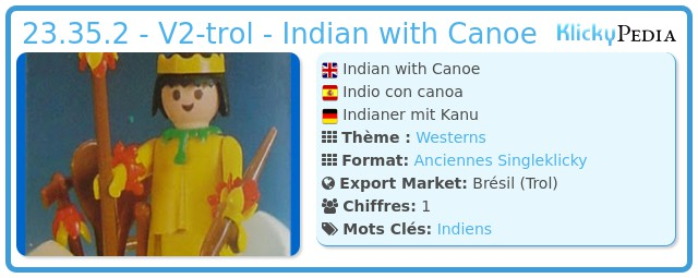 Playmobil 23.35.2 - V2-trol - Indian with Canoe