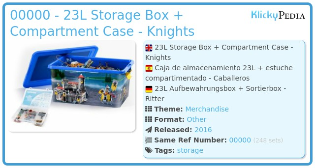 Playmobil 00000 - 23L Storage Box + Compartment Case - Knights