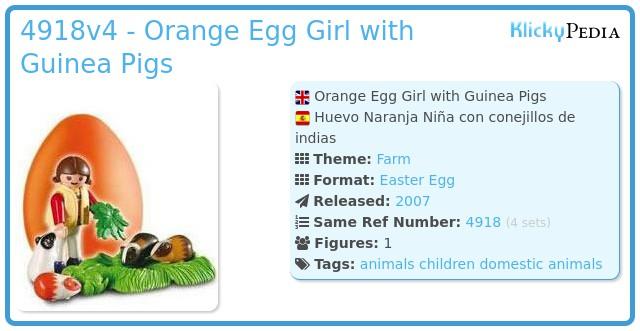 Playmobil 4918v4 - Orange Egg Girl with Guinea Pigs