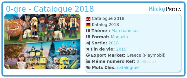 Playmobil 0-gre - Catalogue 2018