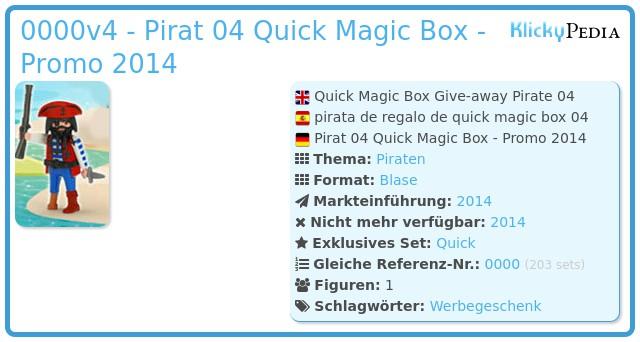 Playmobil 0000v4 - Pirat 04 Quick Magic Box - Promo 2014