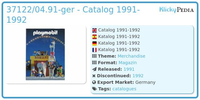 Playmobil 37122/04.91-ger - Catalog 1991-1992