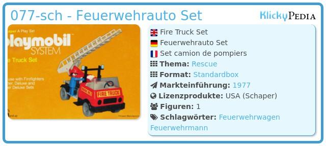 Playmobil 077-sch - Feuerwehrauto Set