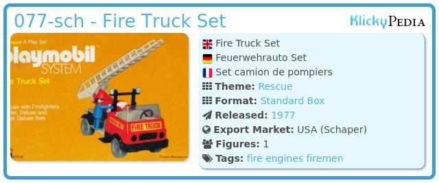 Playmobil 077-sch - Fire Truck Set