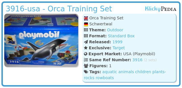 Playmobil 3916-usa - Orca Training Set