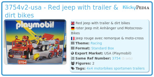 Playmobil 3754v2-usa - Red jeep with trailer & dirt bikes