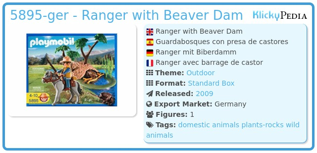 Playmobil 5895 - Ranger with Beaver Dam