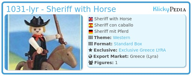 Playmobil 1031-lyr - Sheriff with Horse